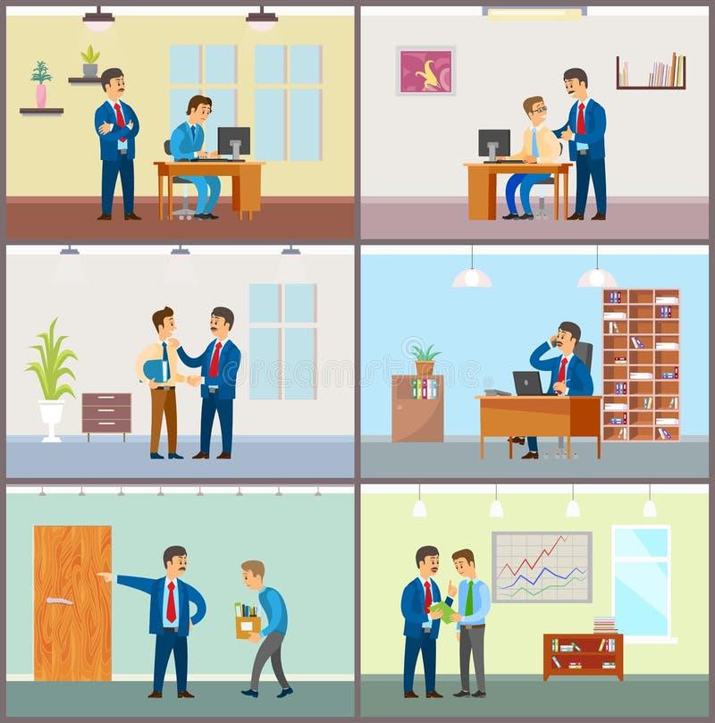Szef Dogląda Nowych pracowników przy pracą, biznesmen ilustracji