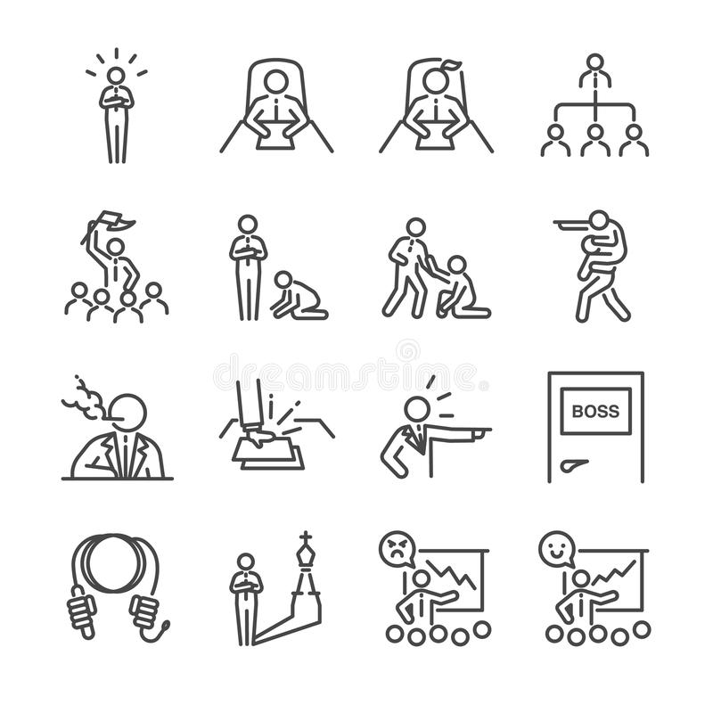 Szef ikony kreskowy set Zawrzeć ikony jako lider, drużyna, bossy, nakazowy, kierownik, szef i więcej, ilustracji