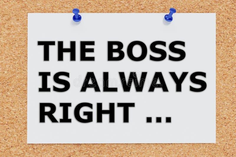 Szef jest zawsze prawy - pojęcie royalty ilustracja
