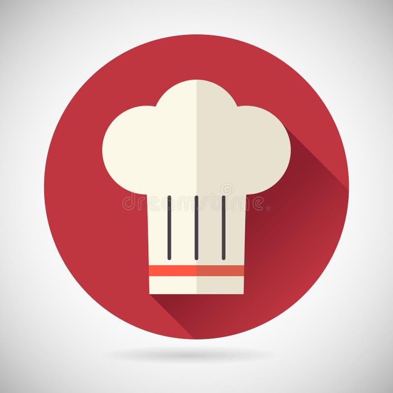 Szef Kucbarskiej symbolu Toque kuchni Karmowej ikony dalej royalty ilustracja