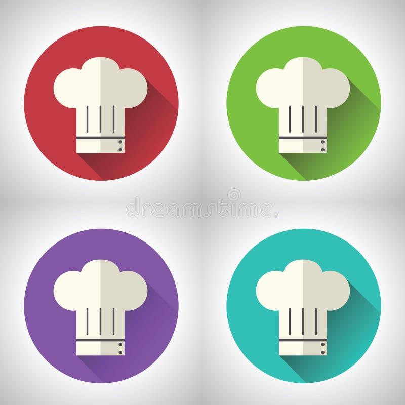 Szef Kucbarskiej symbolu Toque kuchni Karmowej ikony dalej ilustracja wektor
