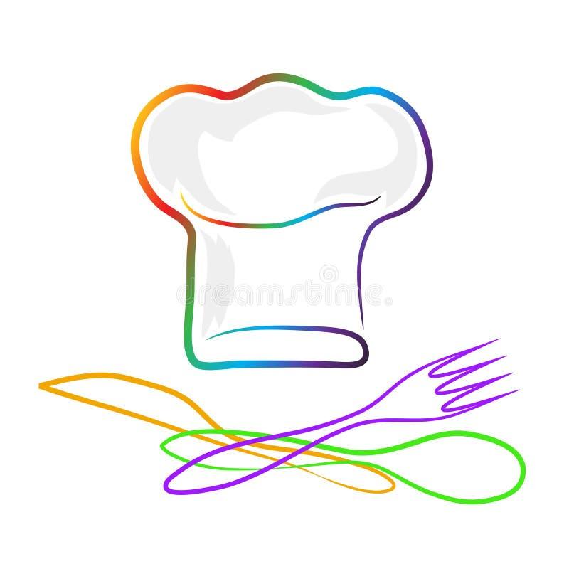 Szef kuchni łyżka i; rozwidlenie i nóż odizolowywający set colo royalty ilustracja