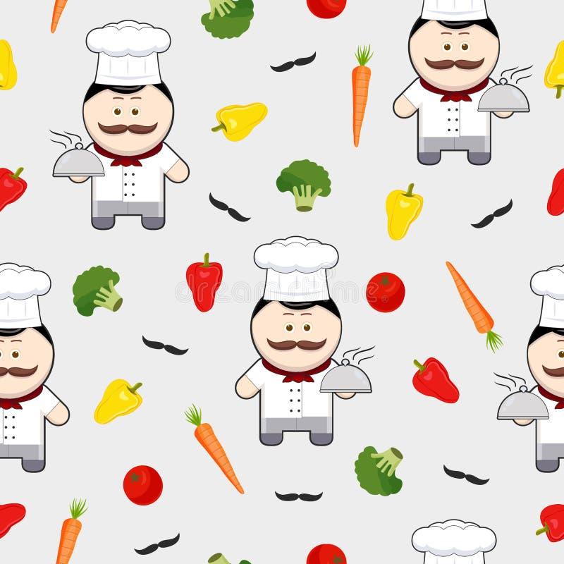 Szef kuchni ślicznej postaci z kreskówki bezszwowy wzór na białym tle, szef kuchni z wąsy i składniki, ilustracji