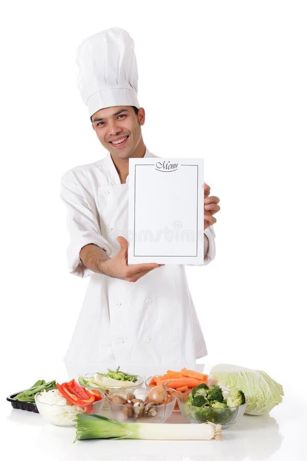 szef kuchni świeżego mężczyzna menu świezi warzywa młodzi fotografia stock