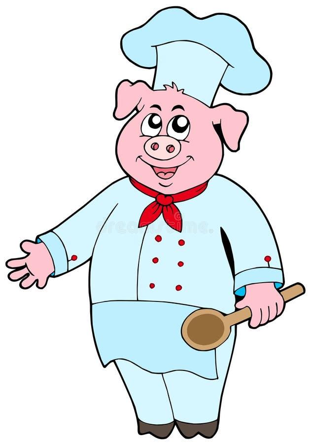 szef kuchni świnia royalty ilustracja
