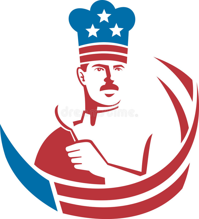 szef kuchni amerykański piekarniany kucharz ilustracji