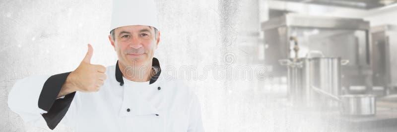 Szef kuchni aprobaty z kuchenną przemianą fotografia royalty free