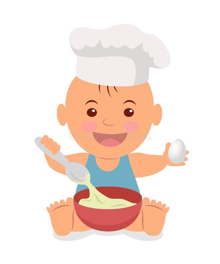szef kuchni, Berbeć w kucbarskiej nakrętce z łyżką i jajko w rękach ugniatamy ciasto royalty ilustracja