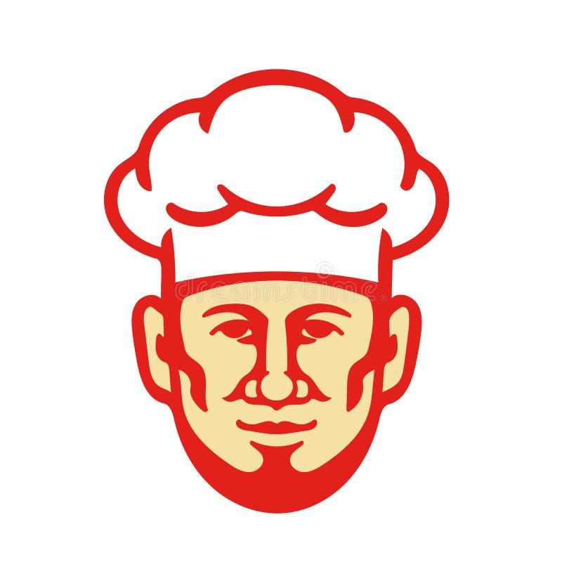 Szef kuchni brody Toque Kucbarski kapelusz Retro ilustracja wektor