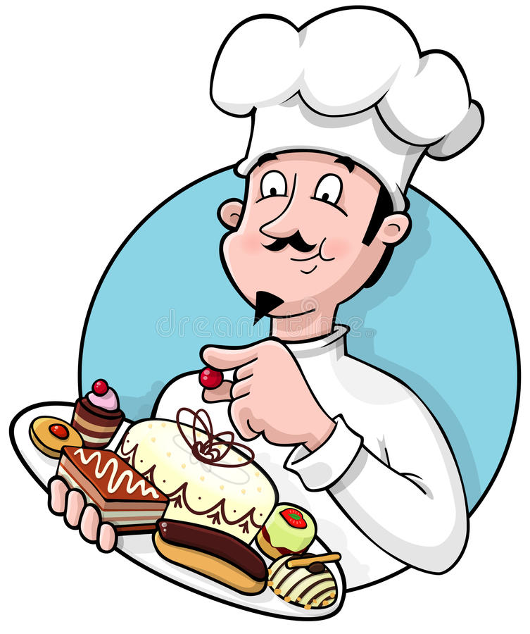 szef kuchni ciasto royalty ilustracja