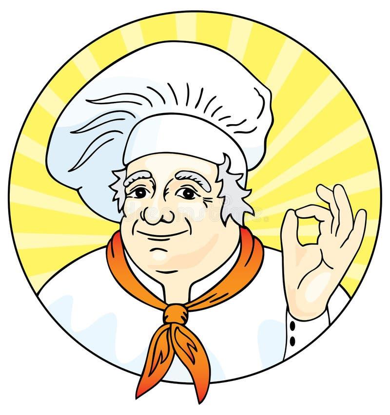 szef kuchni daje ok znakowi royalty ilustracja