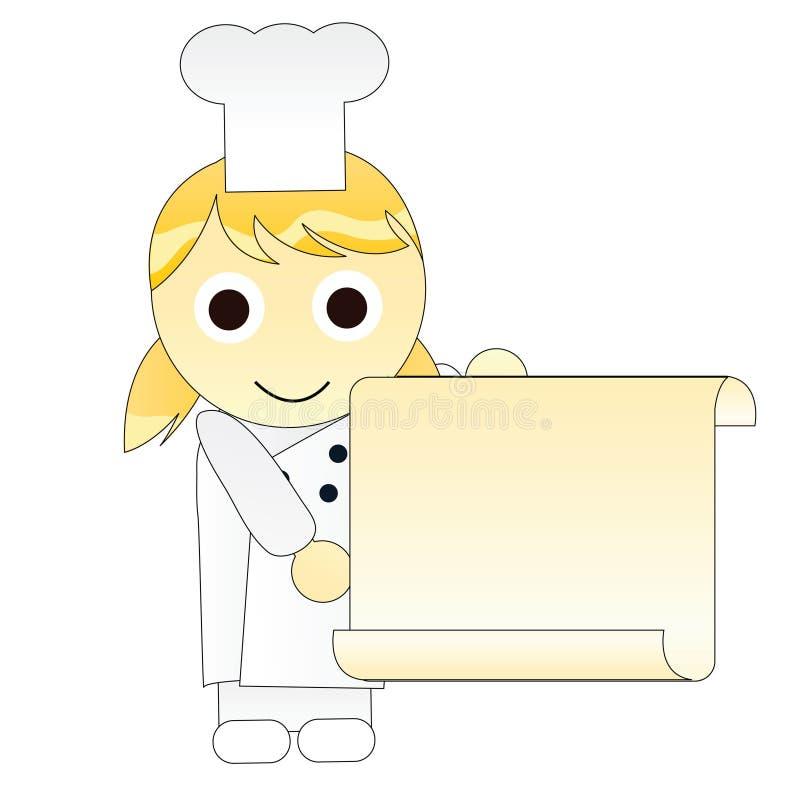 szef kuchni dziewczyny menu royalty ilustracja