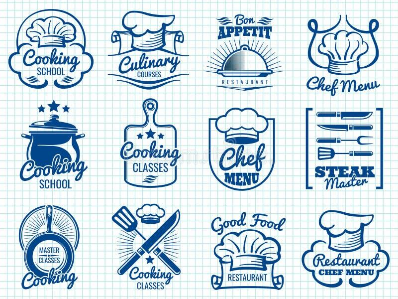 Szef kuchni etykietek retro kolekci - restauracyjny lub cukierniany loga projekt royalty ilustracja