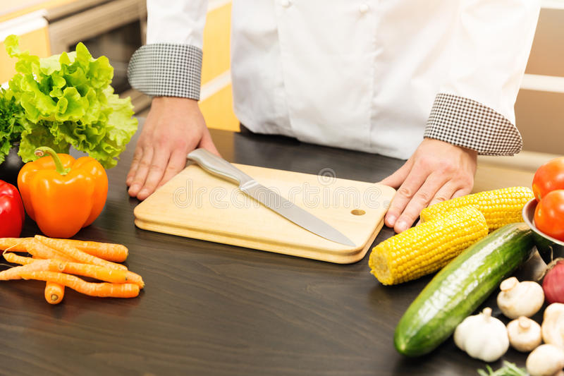 szef kuchni gotowe do pracy zdjęcie stock