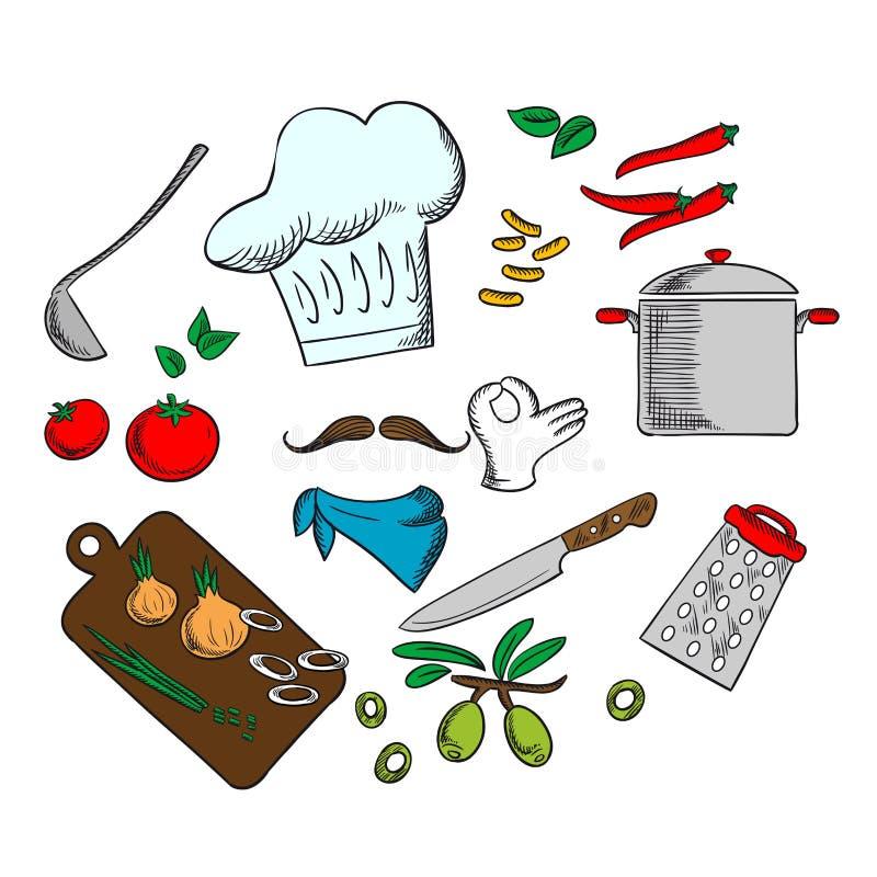Szef kuchni gotuje jarskiej sałatki ilustracji