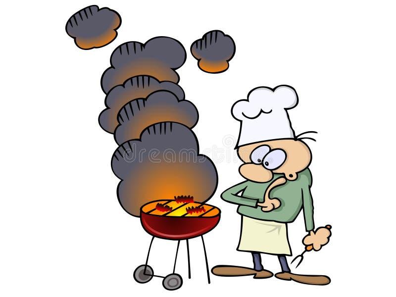 szef kuchni grill jego ilustracja wektor