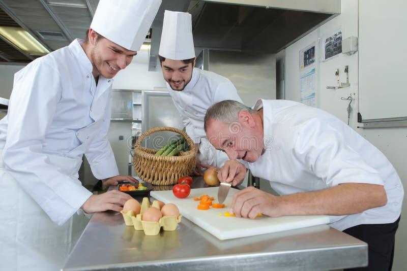 Szef kuchni i aplikanci gotuje posiłek obraz stock