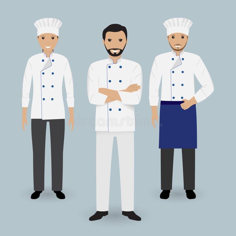 Szef kuchni i dwa kucharz w jednolitej pozyci wpólnie Kulinarni ludzie charakterów ilustracja wektor