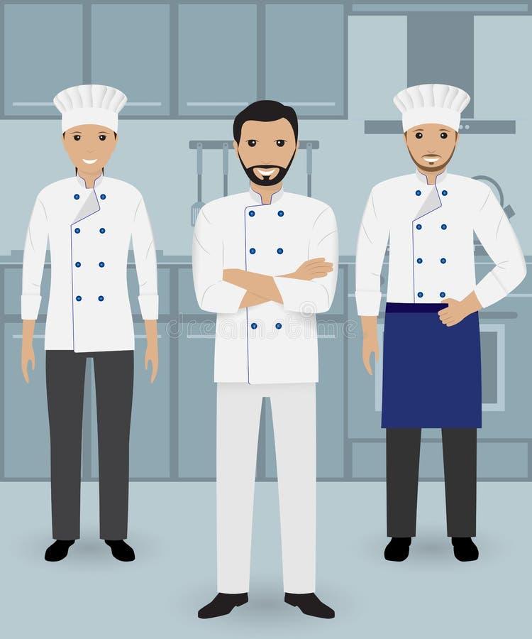 Szef kuchni i dwa kucharz w jednolitej pozyci wpólnie na kuchennym tle Kulinarni ludzie charakterów royalty ilustracja