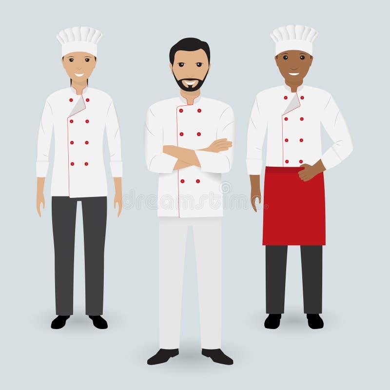 Szef kuchni i dwa kucharz w jednolitej pozyci wpólnie w trzy różnych pozach Kulinarni ludzie charakterów ilustracja wektor