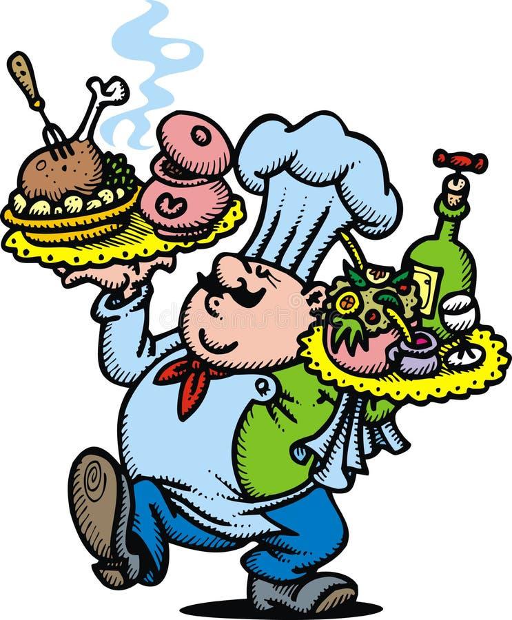 Szef kuchni i jedzenie ilustracja wektor