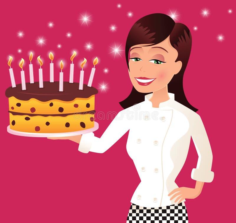 Szef kuchni i urodzinowy tort ilustracja wektor