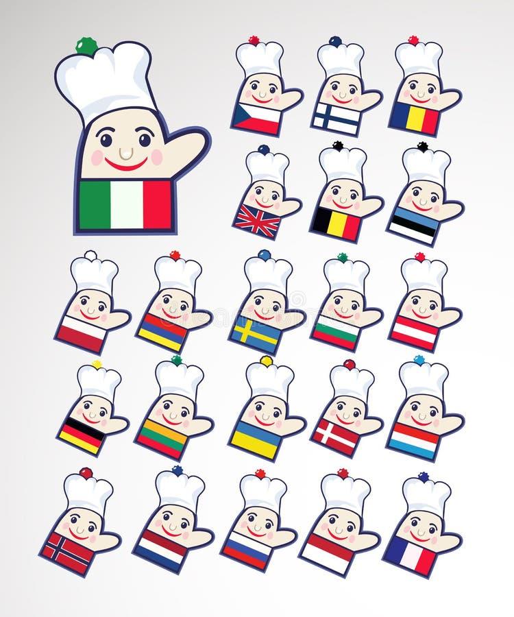 szef kuchni ikon zawody międzynarodowe set ilustracji