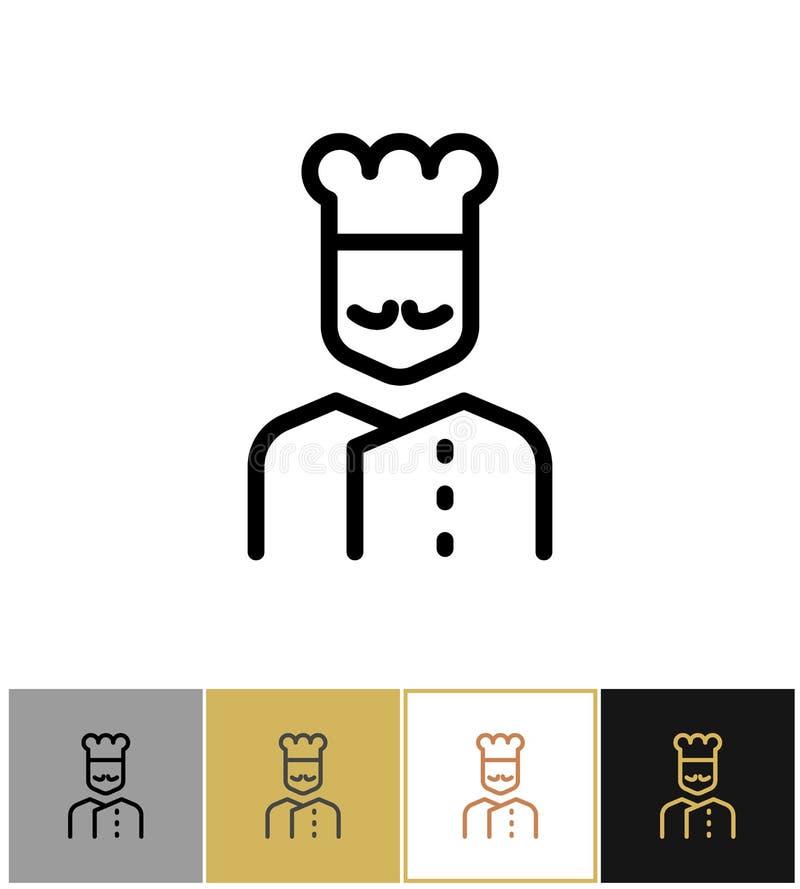 Szef kuchni ikona, restauracyjny kuchnia kucharza znak ilustracja wektor