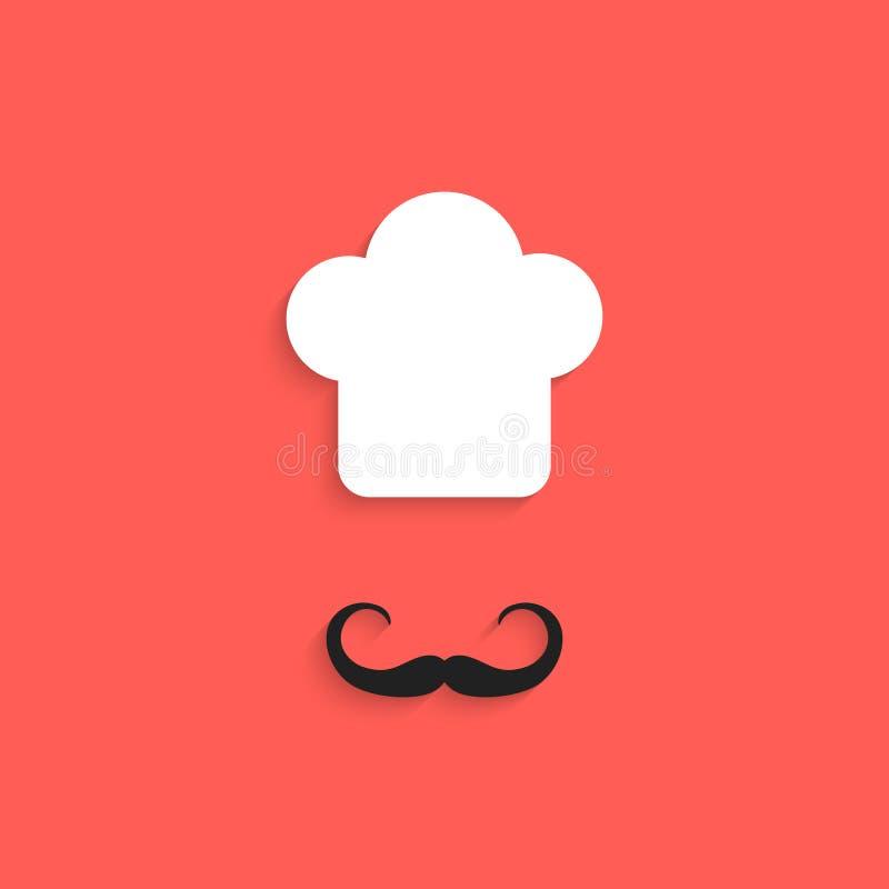 Szef kuchni ikona z wąsy na czerwonym tle ilustracji