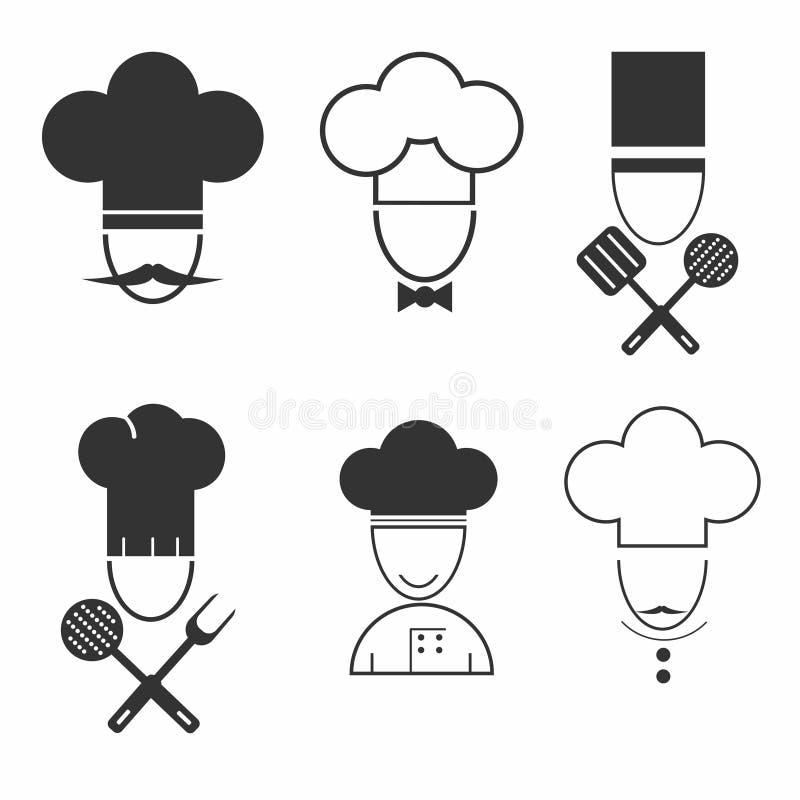 Szef kuchni ikony kucbarski set Ilustracja różni kucharzi odizolowywający na białym tle ilustracji