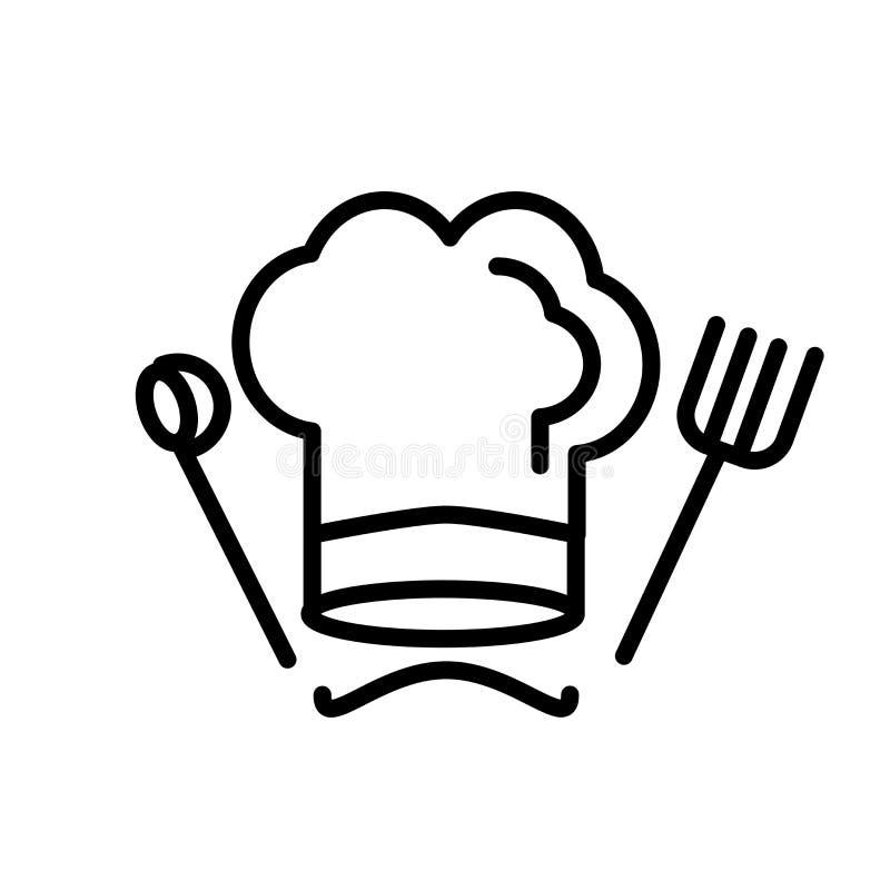Szef kuchni ikony wektoru kapeluszowy znak i symbol odizolowywający na białym tle, szefa kuchni logo kapeluszowy pojęcie royalty ilustracja