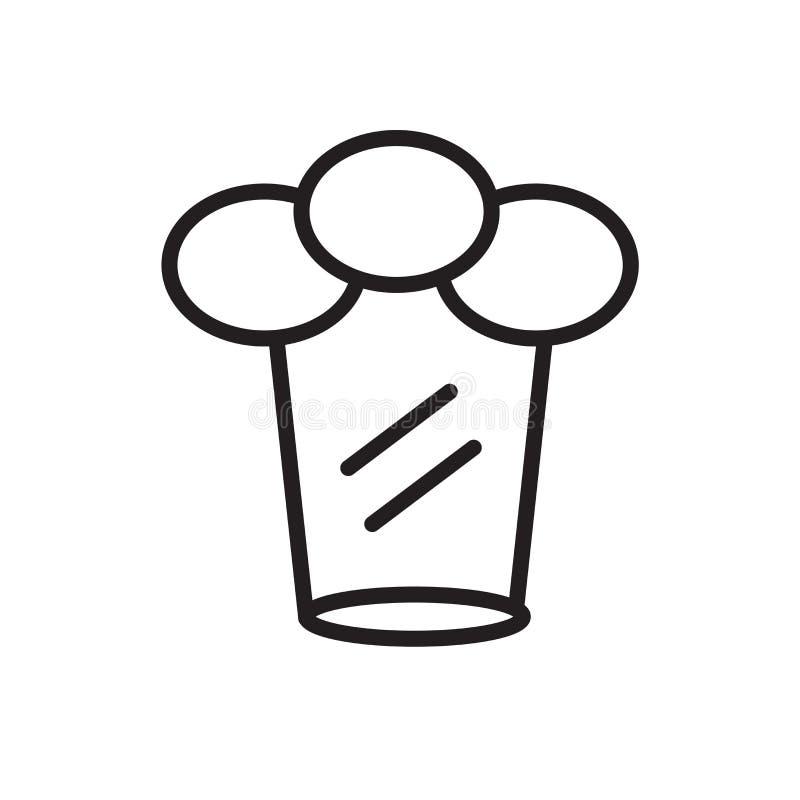 Szef kuchni ikony wektoru odizolowywającego na białym tle, szefa kuchni kapeluszu znak kapeluszowy, liniowy symbol i uderzenie pr ilustracja wektor