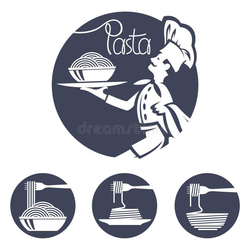 Szef kuchni ikony z naczyniem makaron royalty ilustracja