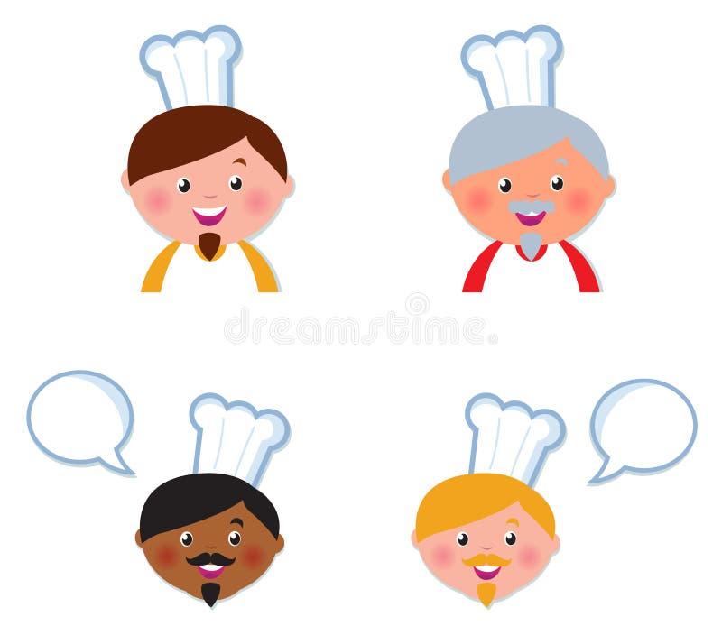 szef kuchni inkasowe śliczne głów ikony odizolowywali biel ilustracji