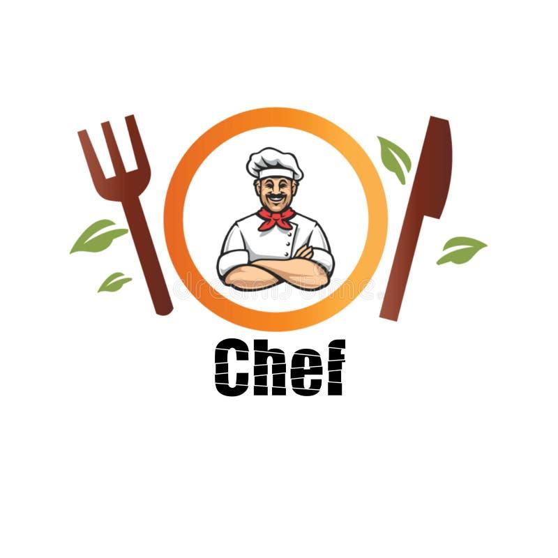 Szef kuchni jest osobą który pracuje w restauracji i obowiązek gotować posiłek dla klienta ilustracji