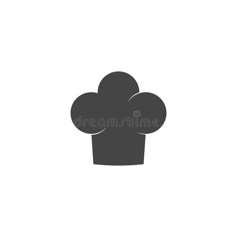 Szef kuchni kapeluszowa ikona odizolowywająca na białym tle Ubraniowy kucharz w mieszkanie stylu ilustracja wektor