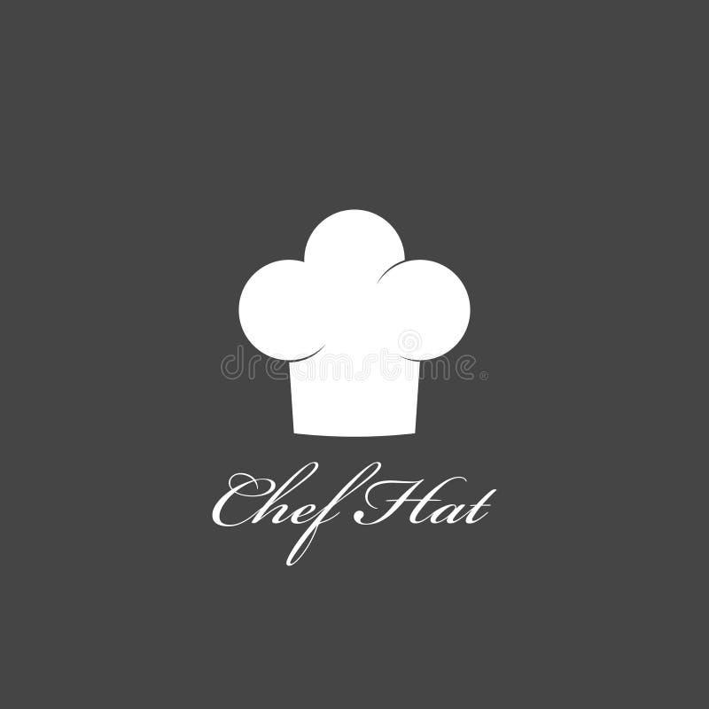Szef kuchni kapeluszowa ikona odizolowywająca na ciemnym tle Ubraniowy kucharz w mieszkanie stylu ilustracja wektor