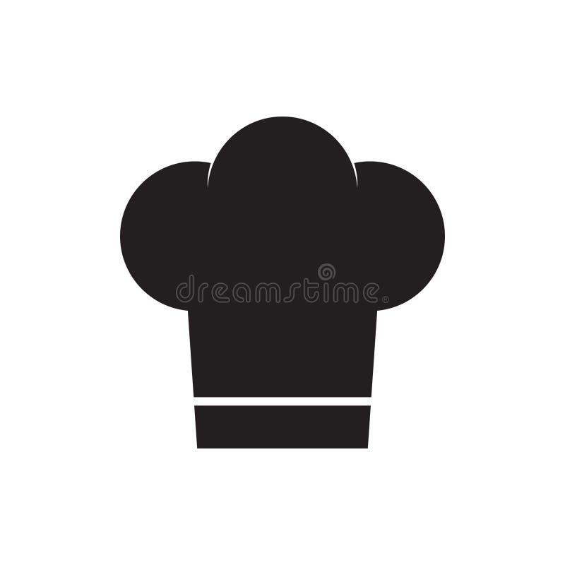 Szef kuchni kapeluszowa ikona w mieszkanie stylu Kuchenki nakrętki wektorowa ilustracja na białym odosobnionym tle Szefa kuchni r ilustracji