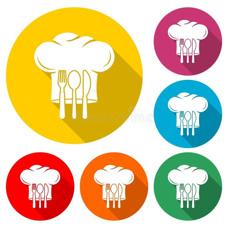Szef kuchni kapeluszowa sylwetka z rozwidleniem, nóż, łyżkowa ikona lub logo, koloru set z długim cieniem royalty ilustracja
