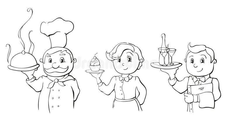 Szef kuchni, kelner i kelnerka, ilustracji