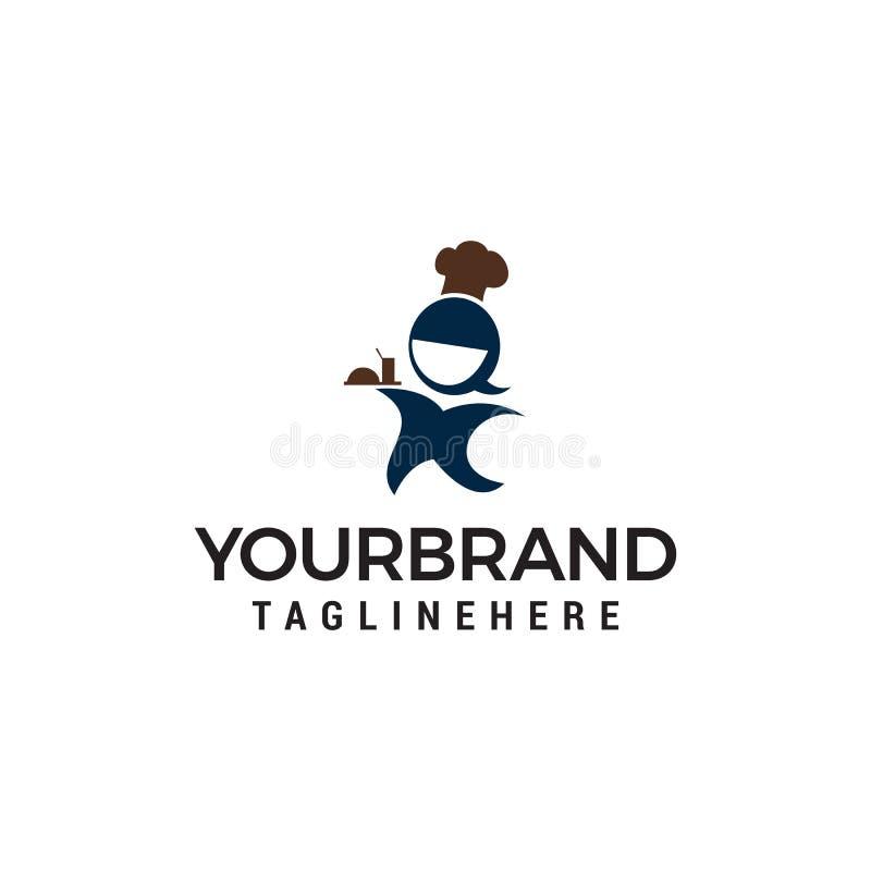 Szef kuchni kobiet logo projekta pojęcia szablon ilustracja wektor