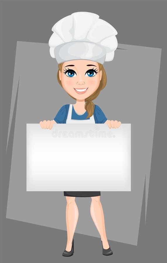 Szef kuchni kobieta trzyma dużego pustego sztandar Śliczny postać z kreskówki kucharz royalty ilustracja