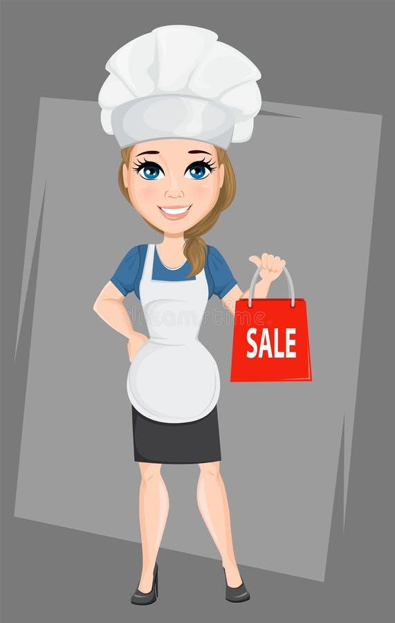 Szef kuchni kobieta trzyma papierową torbę dla sprzedaży Śliczny postać z kreskówki kucharz ilustracja wektor