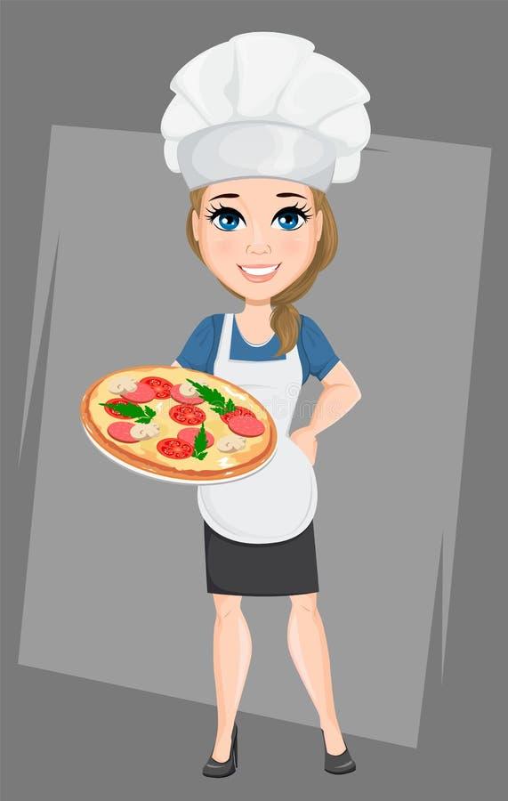 Szef kuchni kobieta trzyma smakowitą Włoską pizzę Śliczny postać z kreskówki kucharz ilustracja wektor