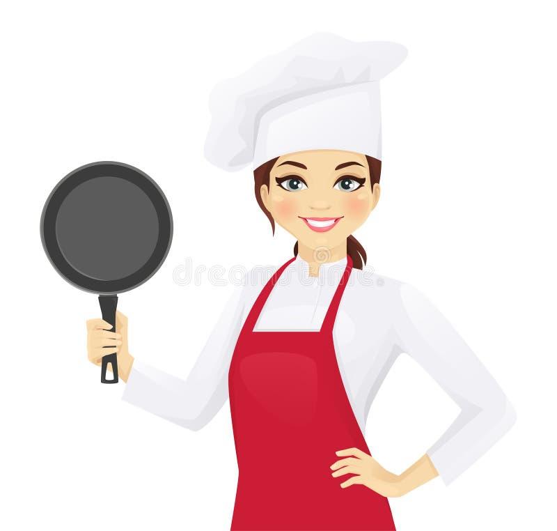 Szef kuchni kobieta z niecką ilustracji