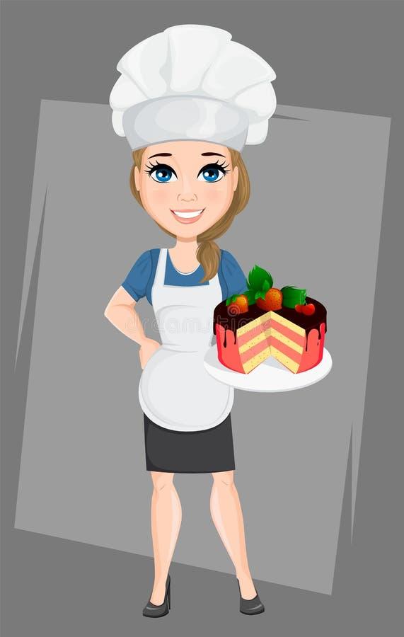 Szef kuchni kobieta z smakowitym cukierki tortem Śliczny postać z kreskówki kucharz royalty ilustracja
