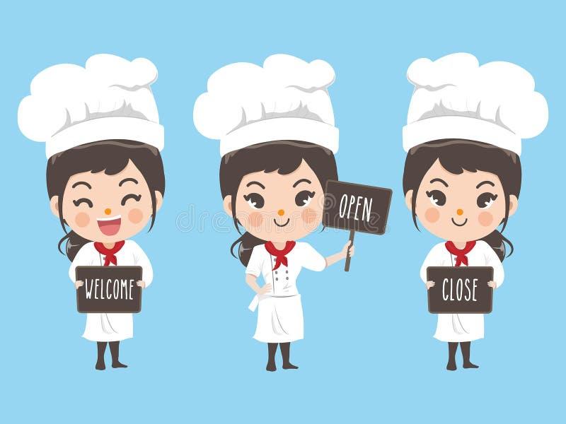 Szef kuchni kobiety chwyta blackboard dla wiadomości ilustracji