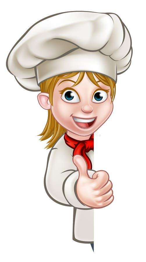 Szef kuchni kobiety kreskówka Cook ilustracja wektor
