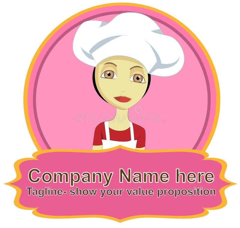 Szef kuchni kobiety logo z sztandarem ilustracji