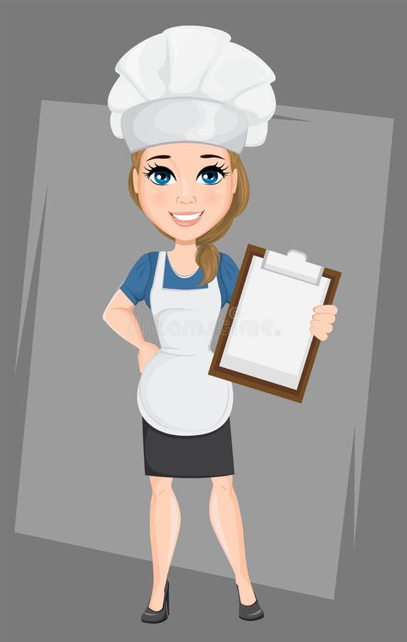 Szef kuchni kobiety mienia schowek Śliczny postać z kreskówki kucharz ilustracja wektor
